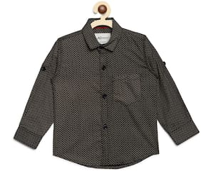 Aj Dezines Cotton Printed Shirt for Baby Boy - Black