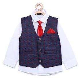 Aj Dezines Boy Cotton blend Printed Kurta pyjama set - Blue