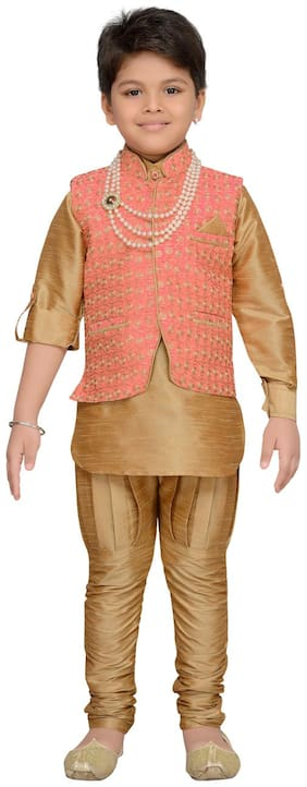 Aj Dezines Baby boy Silk blend Solid Kurta pyjama set - Pink