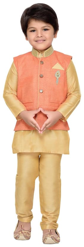 Aj Dezines Baby Boy Cotton Solid Kurta Pyjama Set - Orange
