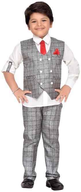 Aj Dezines Baby boy Cotton blend Solid Kurta pyjama set - Grey