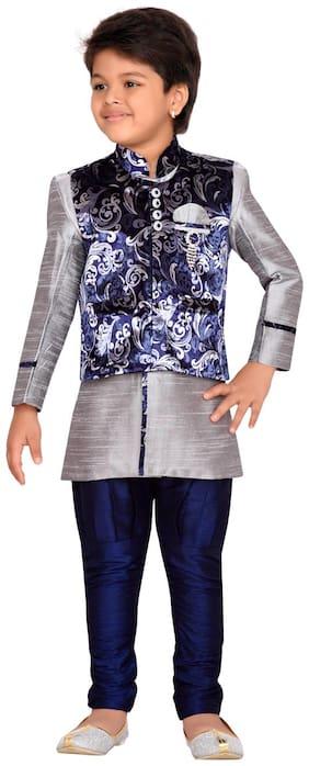Aj Dezines Boy Velvet Solid Kurta pyjama set - Purple