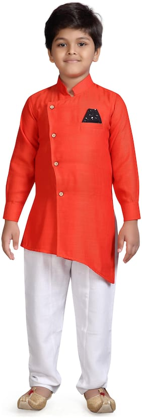 Aj Dezines Boy Cotton blend Solid Kurta pyjama set - Orange & White