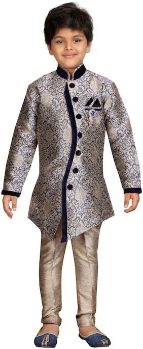 Aj Dezines Boy Silk blend Floral Sherwani - Blue & Gold