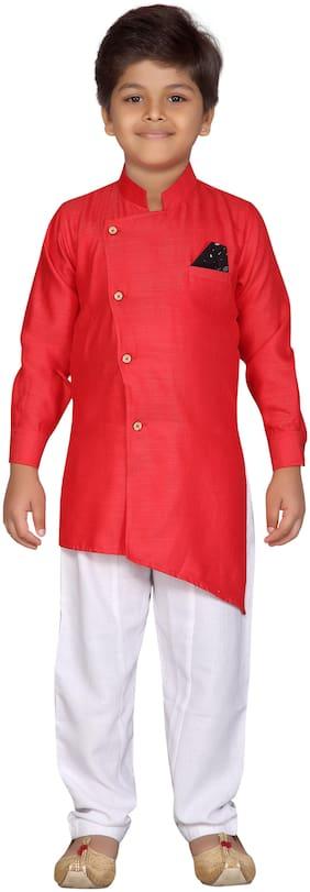 Aj Dezines Boy Cotton blend Solid Kurta pyjama set - Red & White