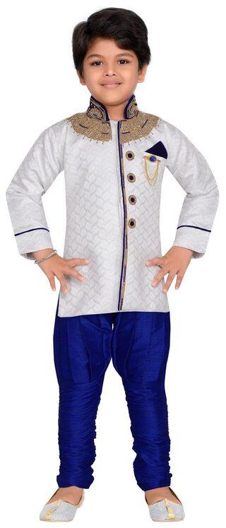 Aj Dezines Boy Silk Blend Solid Kurta Pyjama Set - White