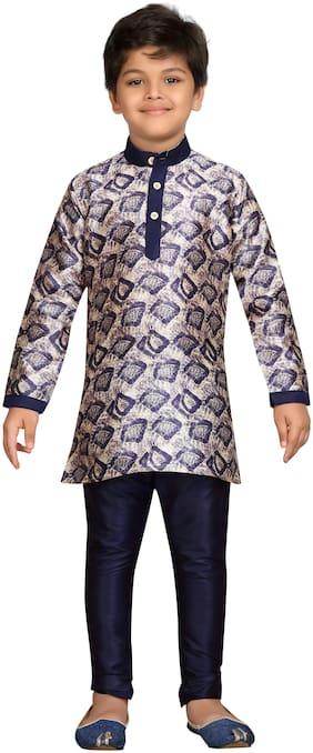 Aj Dezines Boy Silk blend Printed Kurta pyjama set - Multi