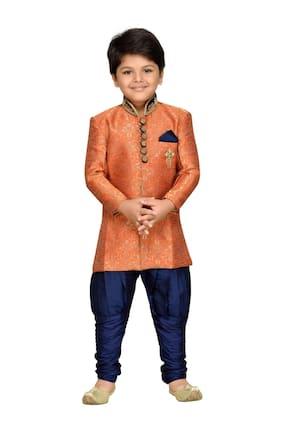 Aj Dezines Boy Silk Printed Kurta pyjama set - Orange