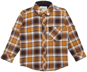 Aj Dezines Cotton Checked Shirt for Baby Boy - Brown