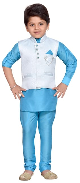 Aj Dezines Baby Boy Silk Blend Solid Kurta Pyjama Set - Blue