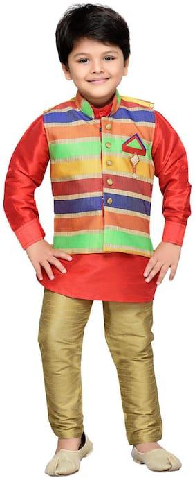 Aj Dezines Baby boy Silk blend Printed Kurta pyjama set - Red
