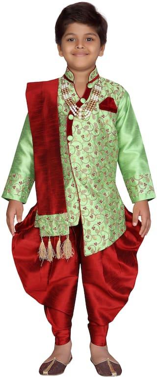 Aj Dezines Boy Silk blend Solid Sherwani - Green & Maroon