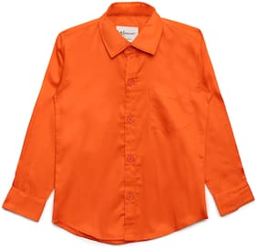 Aj Dezines Boy Cotton Solid Shirt Orange