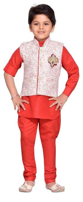 Aj Dezines Baby Boy Cotton Blend Solid Kurta Pyjama Set - Red