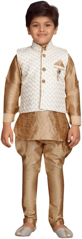 Aj Dezines Boy Silk blend Solid Kurta pyjama set - White & Brown
