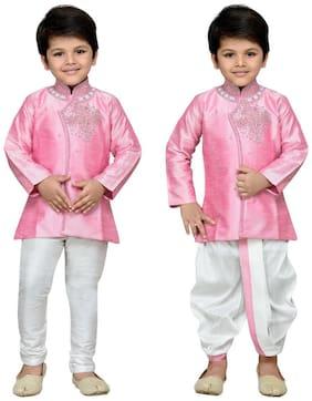 Aj Dezines Baby boy Cotton Solid Dhoti kurta - Pink