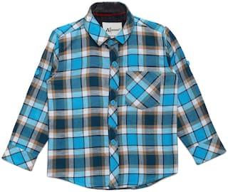 Aj Dezines Boy Cotton Checked T-shirt - Blue