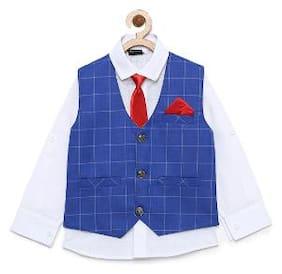 Aj Dezines Baby boy Cotton blend Solid Kurta pyjama set - Blue