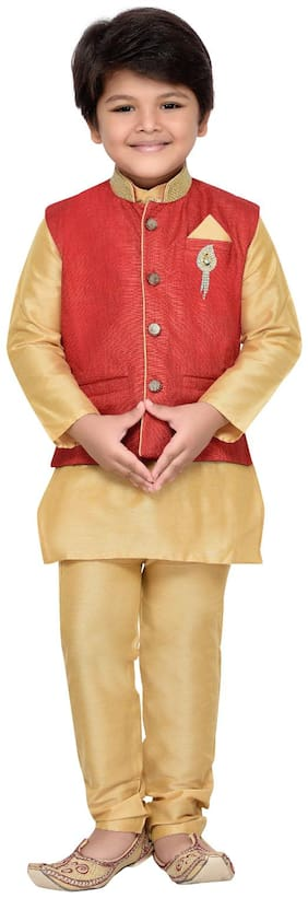 Aj Dezines Boy Cotton Solid Kurta pyjama set - Red