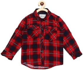 Aj Dezines Boy Cotton Checked T-shirt - Red