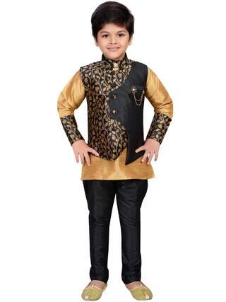 Aj Dezines Boy Jute silk Printed Kurta pyjama set - Multi