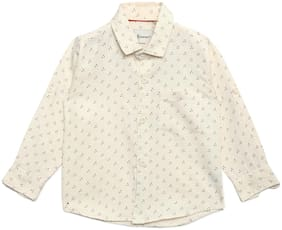 Aj Dezines Boy Cotton Printed T-shirt - Cream
