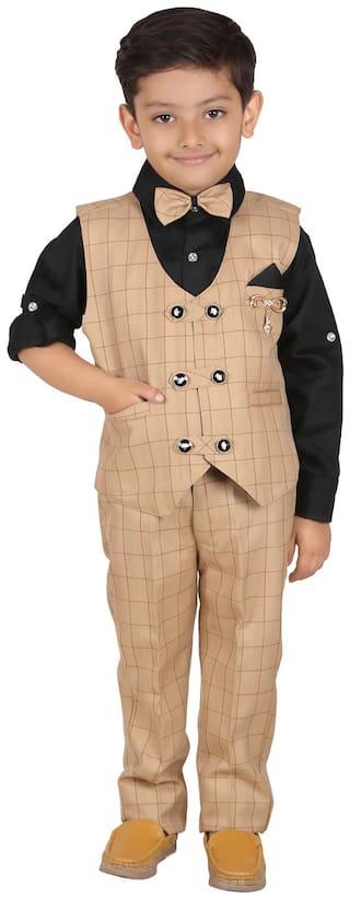 Aj Dezines Baby boy Cotton blend Solid Kurta pyjama set - Beige