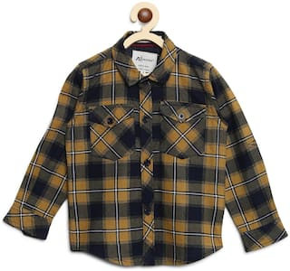 Aj Dezines Cotton Checked Shirt for Baby Boy - Yellow