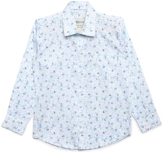 Aj Dezines Boy Cotton Floral Shirt White