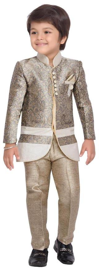 Aj Dezines Boy Silk Printed Kurta pyjama set - Beige