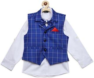 AJ Dezines Kids Party Wear Blue And White Color Shirt & Waistcoat Set For Boys
