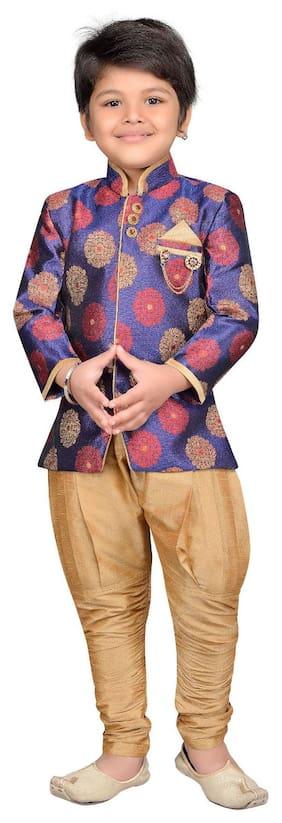 Aj Dezines Boy Silk blend Checked Sherwani - Purple