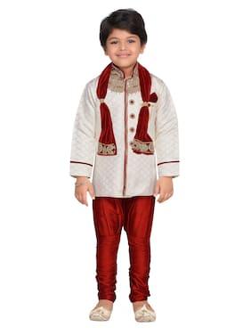 Aj Dezines Boy Silk blend Embellished Kurta pyjama set - Maroon