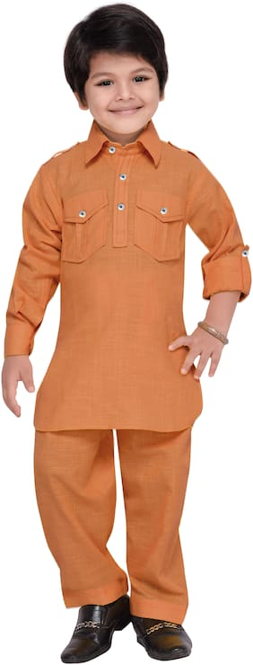 Aj Dezines Boy Cotton Solid Kurta pyjama set - Brown