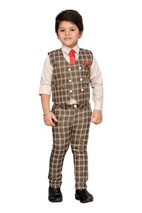 Aj Dezines Boy Cotton Blend Printed Kurta Pyjama Set - Brown