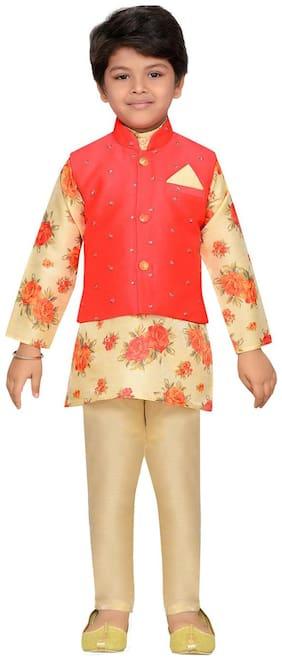 Aj Dezines Boy Silk blend Printed Kurta pyjama set - Pink