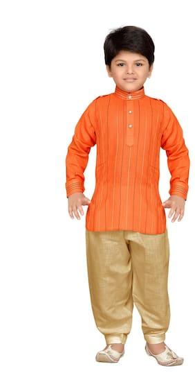 Aj Dezines Boy Cotton Printed Kurta pyjama set - Orange