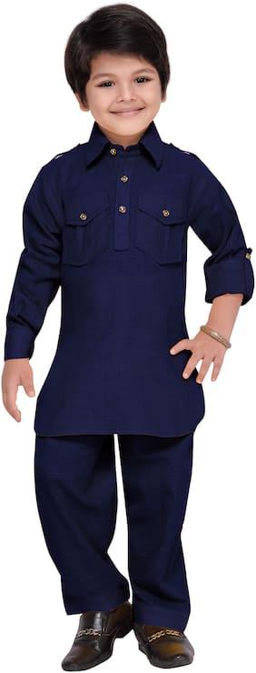 Aj Dezines Boy Cotton Solid Kurta pyjama set - Blue