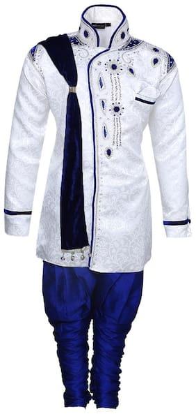 Aj Dezines Boy Silk Printed Sherwani - White