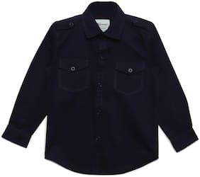 Aj Dezines Boy Cotton Solid Shirt Blue