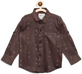 Aj Dezines Boy Cotton Printed T-shirt - Brown