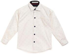 Aj Dezines Boy Cotton Printed Shirt Cream