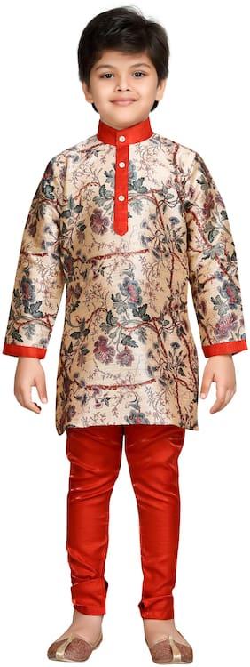 Aj Dezines Boy Silk blend Printed Kurta pyjama set - Red
