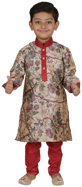 Aj Dezines Boy Silk Blend Printed Kurta Pyjama Set - Red