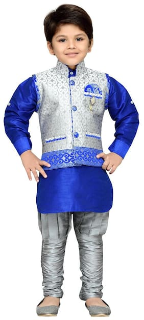 Aj Dezines Boy Silk blend Printed Kurta pyjama set - Grey