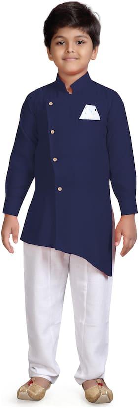 Aj Dezines Boy Cotton blend Solid Kurta pyjama set - Blue & White
