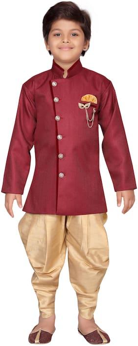 Aj Dezines Boy Jute silk Solid Sherwani - Maroon