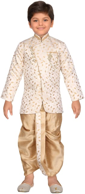 Aj Dezines Boy Jute silk Printed Sherwani - Beige