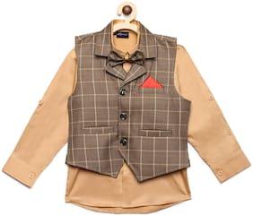 AJ Dezines Kids Party Wear Beige And Brown Color Shirt & Waistcoat Set For Boys