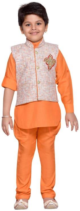 Aj Dezines Baby boy Cotton blend Solid Kurta pyjama set - Orange